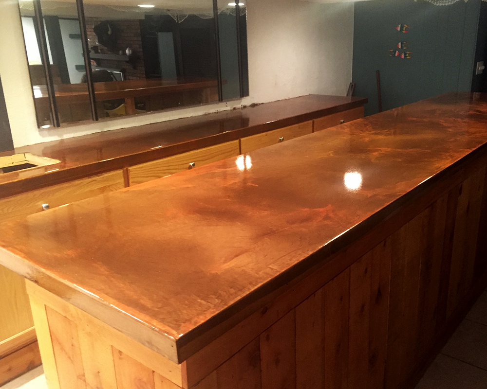 Metallic Finish Bar Top
