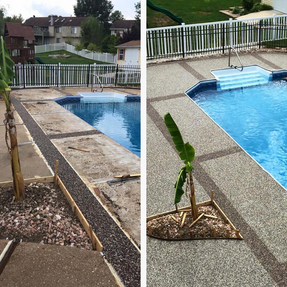 Fenced Pool Deck Stonecraft Epoxy